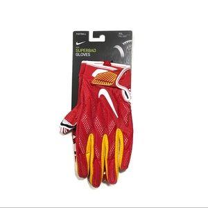 Nike Men's NFL Kansas City Chiefs RARE Superbad Football Gloves XXL